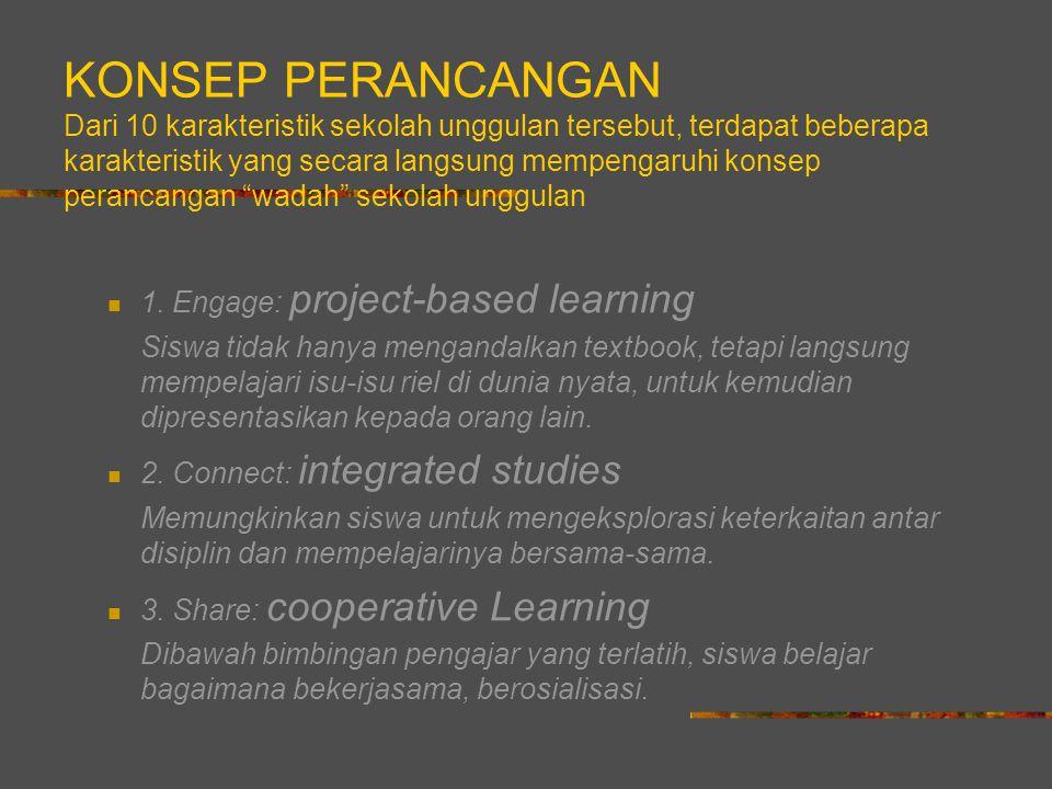 KONSEP PERANCANGAN Dari 10 karakteristik sekolah unggulan tersebut, terdapat beberapa karakteristik yang secara langsung mempengaruhi konsep perancangan wadah sekolah unggulan 1.