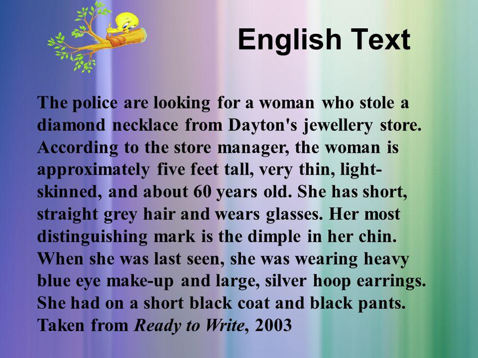 Indonesia Text Polisi sedang mencari seorang wanita yang mencuri sebuah kalung berlian dari toko perhiasan Dayton.