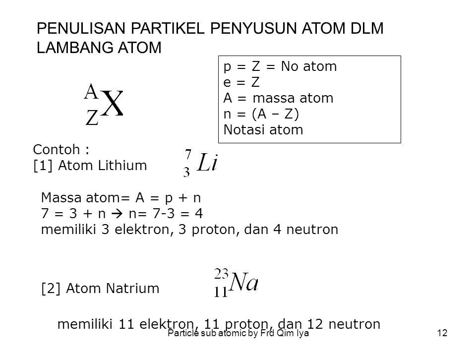 Particle sub atomic by Frd Qim Iya12 p = Z = No atom e = Z A = massa atom n = (A – Z) Notasi atom Contoh : [1] Atom Lithium Massa atom= A = p + n 7 =