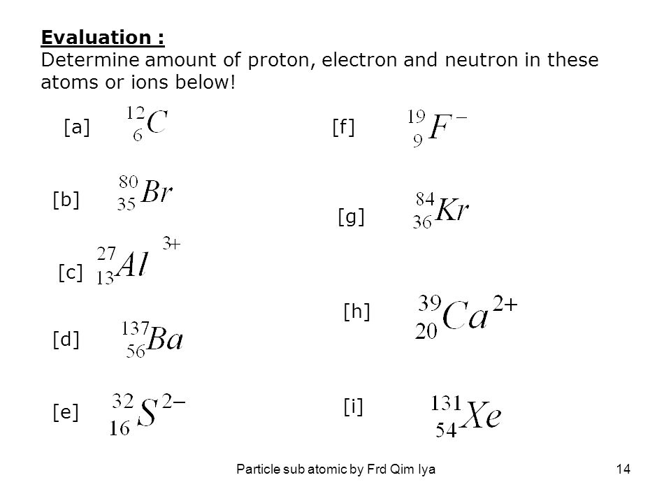 Particle sub atomic by Frd Qim Iya14 Evaluation : Determine amount of proton, electron and neutron in these atoms or ions below! [a][f] [b] [g] [c] [h