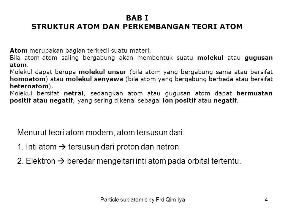 Particle sub atomic by Frd Qim Iya15 Jumlah proton merupakan kekhasan suatu atom, artinya lambang atom akan berbeda jika jumlah protonnya berbeda No atom (jumlah proton) Lambang atom 1H 2He 3Li 4Be 5B 6C 7N 8O 9F