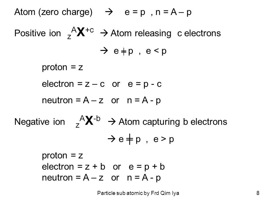 Particle sub atomic by Frd Qim Iya9 26 56 Fe 3+ Atom losing 3 electrons Proton = 26 Electron = 26 – 3 = 23 Neutron = 56 -26 = 30 26 56 Fe Proton = 26 Electron = 26 Neutron = 56 -26 = 30 Example 6 13 N 2- Atom capturing 2 electrons Proton = 6 Electron = 6 – 2 = 8 Neutron = 13 - 6 = 7