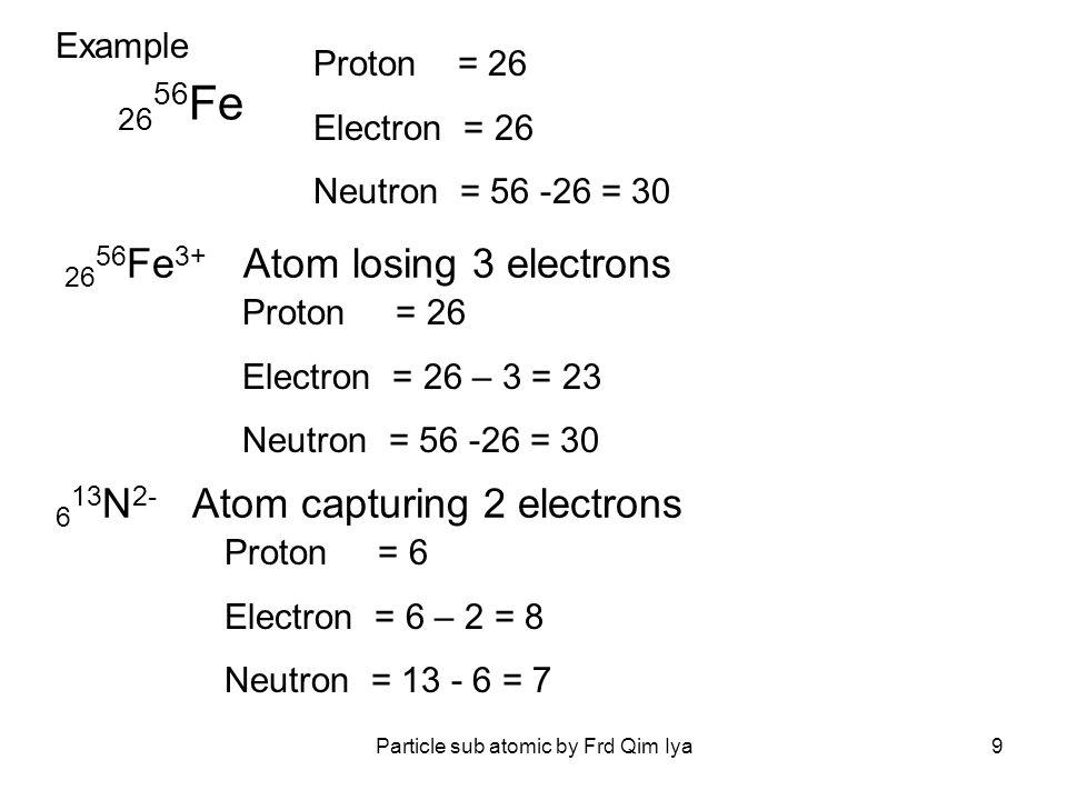 Particle sub atomic by Frd Qim Iya9 26 56 Fe 3+ Atom losing 3 electrons Proton = 26 Electron = 26 – 3 = 23 Neutron = 56 -26 = 30 26 56 Fe Proton = 26