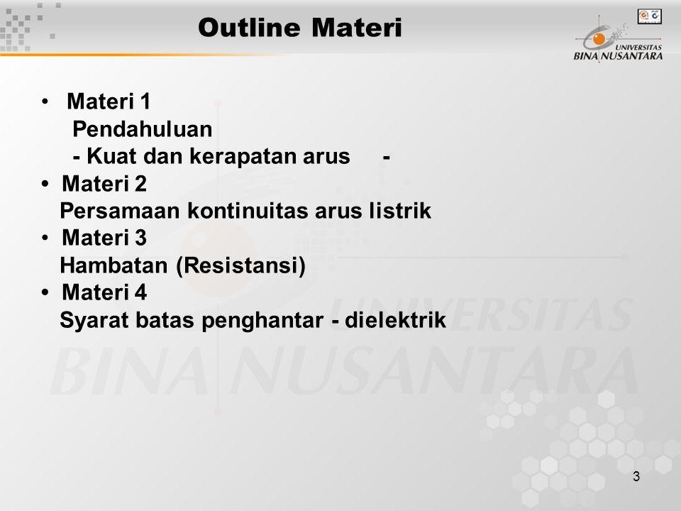 3 Outline Materi Materi 1 Pendahuluan - Kuat dan kerapatan arus - Materi 2 Persamaan kontinuitas arus listrik Materi 3 Hambatan (Resistansi) Materi 4 Syarat batas penghantar - dielektrik
