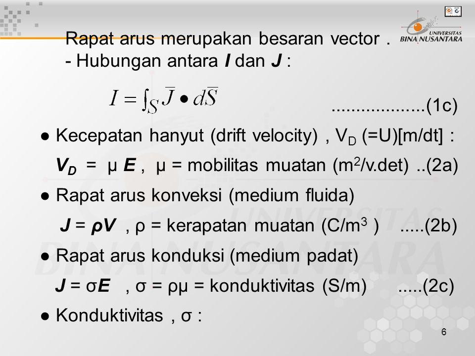 7 - Untuk cairan dan gas σ = ρ - μ - + ρ + μ +, ion neg.