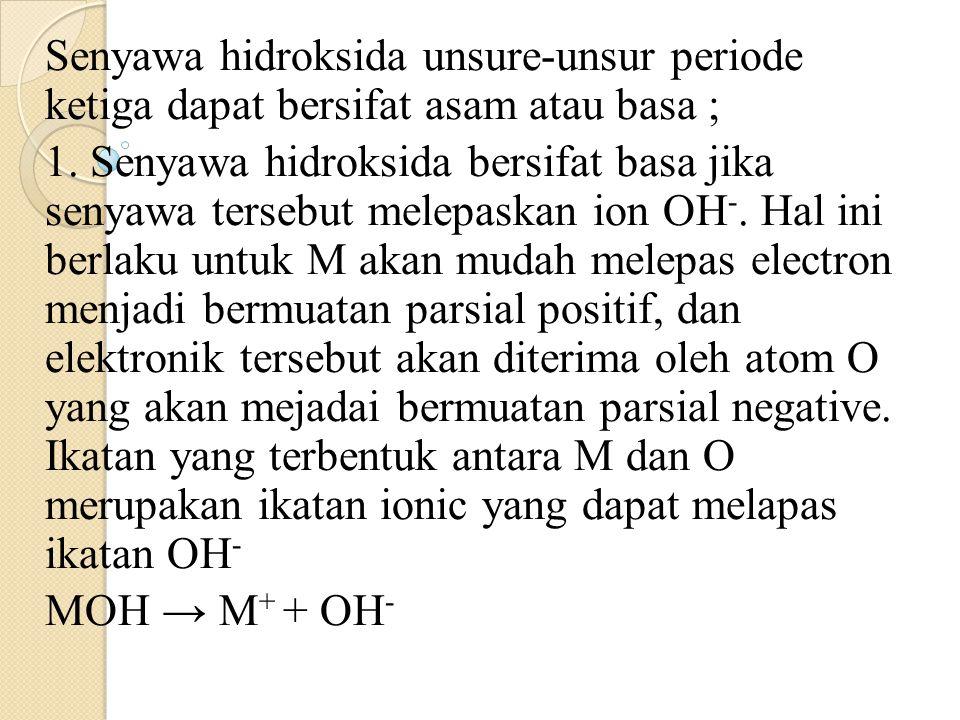 Senyawa hidroksida unsure-unsur periode ketiga dapat bersifat asam atau basa ; 1. Senyawa hidroksida bersifat basa jika senyawa tersebut melepaskan io