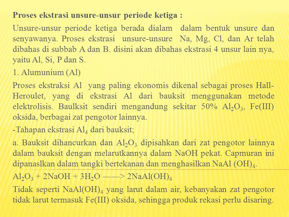 Proses ekstrasi unsure-unsur periode ketiga : Unsure-unsur periode ketiga berada dialam dalam bentuk unsure dan senyawanya. Proses ekstrasi unsure-uns