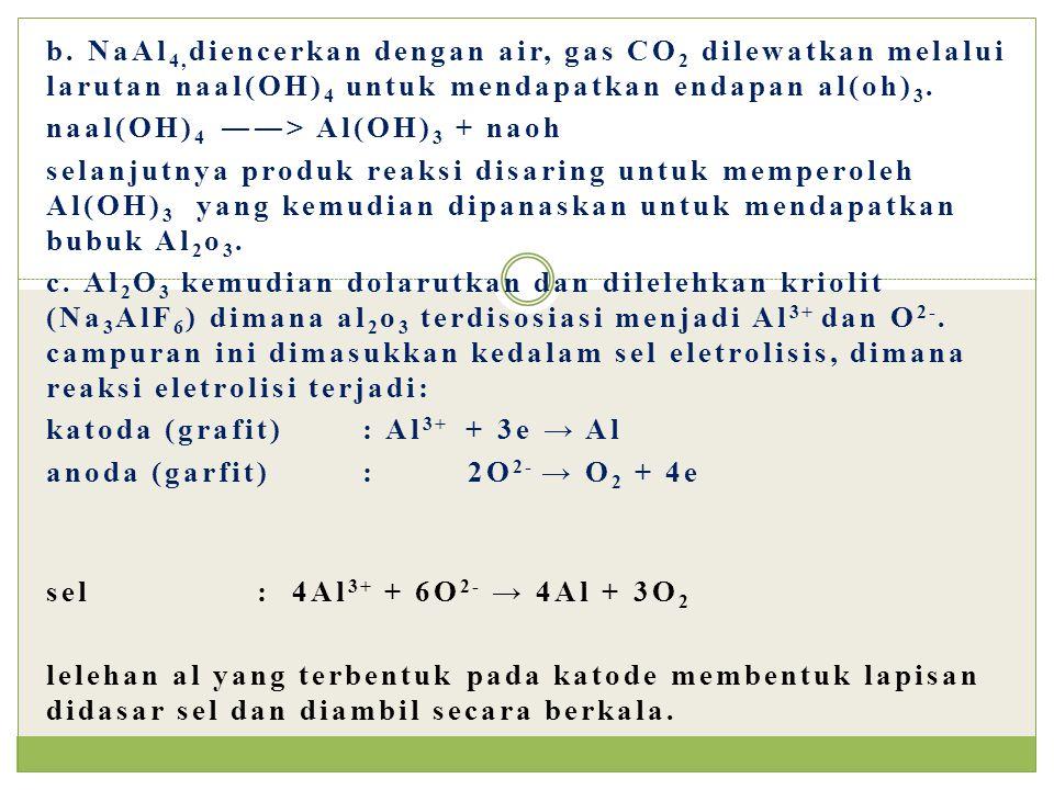 b. NaAl 4, diencerkan dengan air, gas CO 2 dilewatkan melalui larutan naal(OH) 4 untuk mendapatkan endapan al(oh) 3. naal(OH) 4 ――> Al(OH) 3 + naoh se