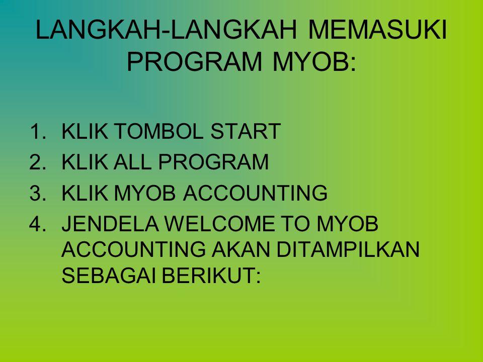 LANGKAH-LANGKAH MEMASUKI PROGRAM MYOB: 1.KLIK TOMBOL START 2.KLIK ALL PROGRAM 3.KLIK MYOB ACCOUNTING 4.JENDELA WELCOME TO MYOB ACCOUNTING AKAN DITAMPI