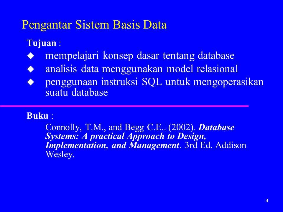 4 Pengantar Sistem Basis Data Tujuan : u mempelajari konsep dasar tentang database u analisis data menggunakan model relasional u penggunaan instruksi