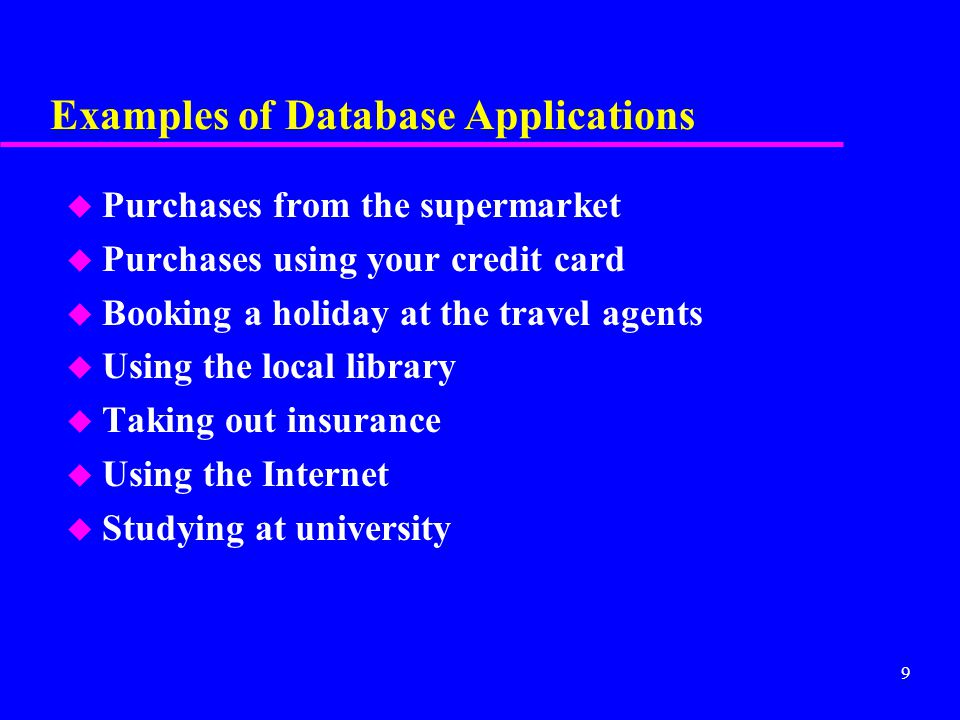 10 File-Based Systems u Collection of application programs that perform services for the end users (e.g.