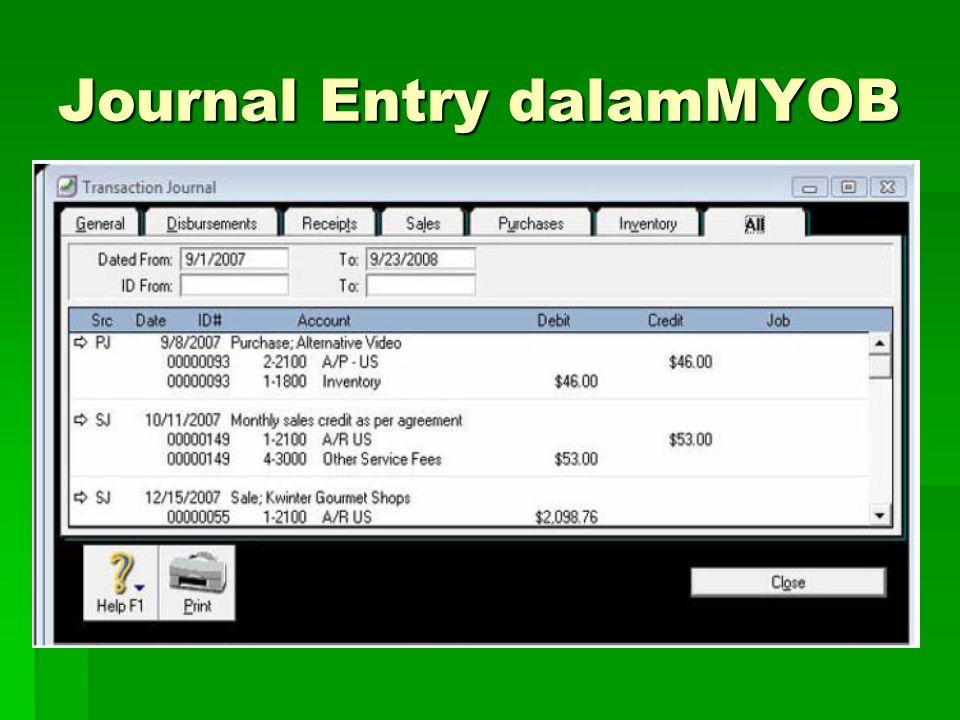 Journal Entry dalamMYOB