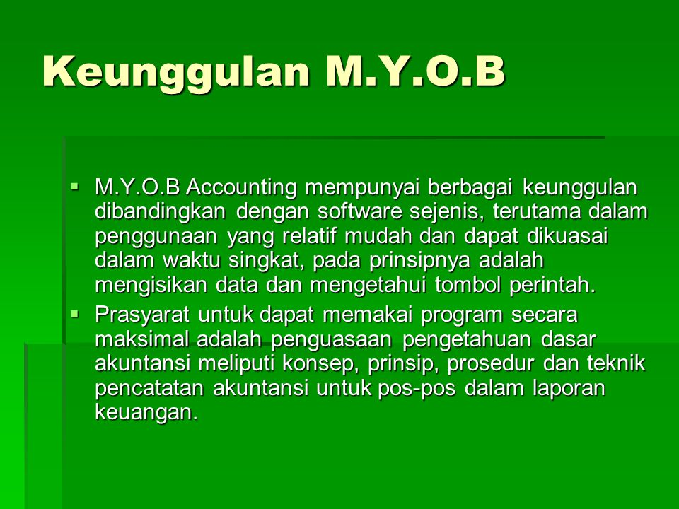 Set Up MYOB