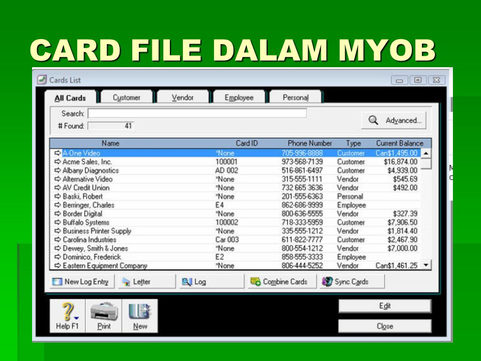 Bank Register MYOB