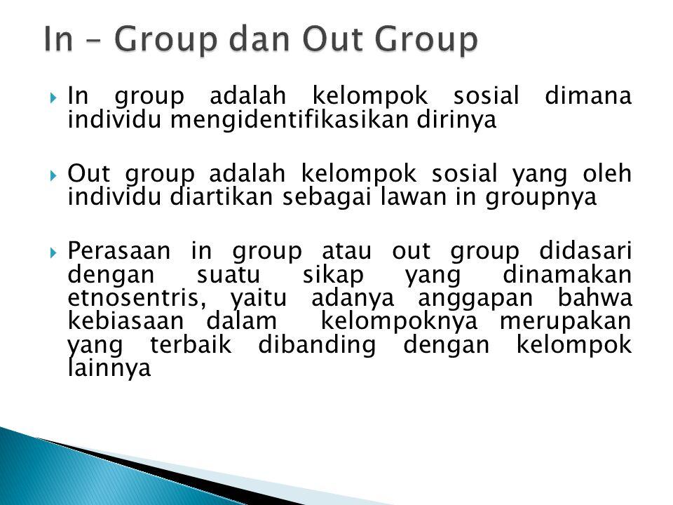 In group adalah kelompok sosial dimana individu mengidentifikasikan dirinya  Out group adalah kelompok sosial yang oleh individu diartikan sebagai