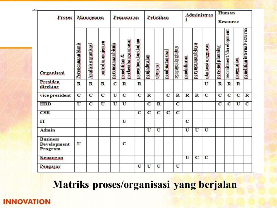 Matriks proses/organisasi yang berjalan