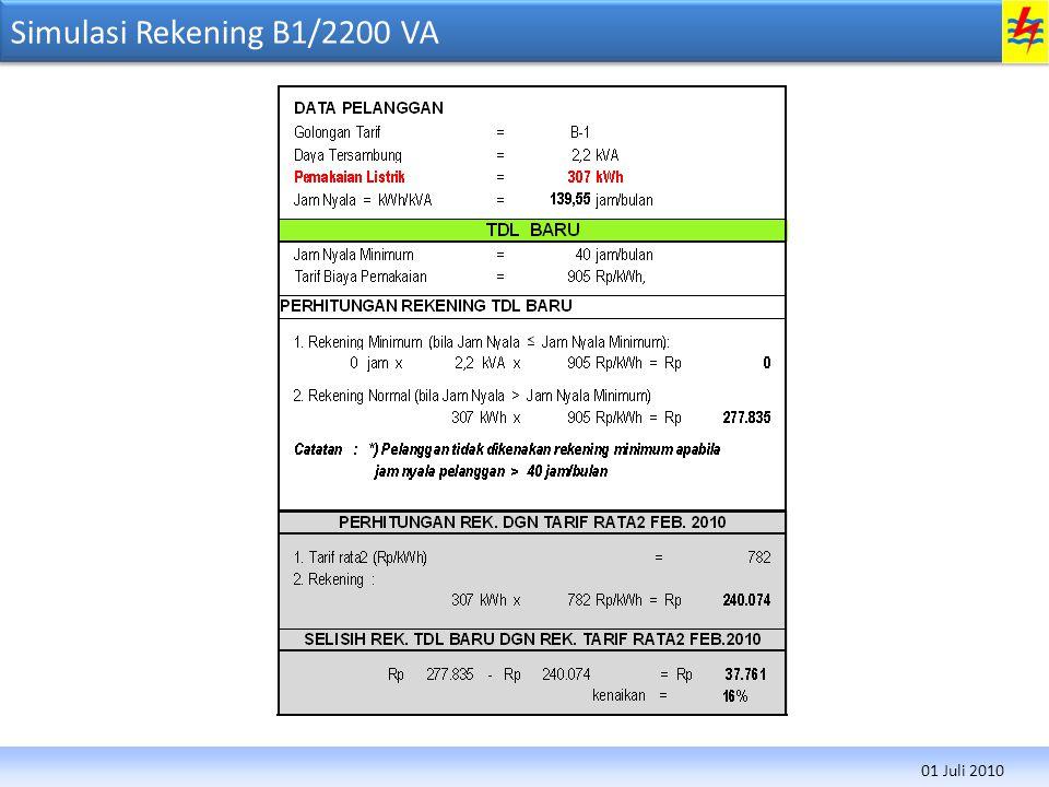 Simulasi Rekening B1/2200 VA 01 Juli 2010
