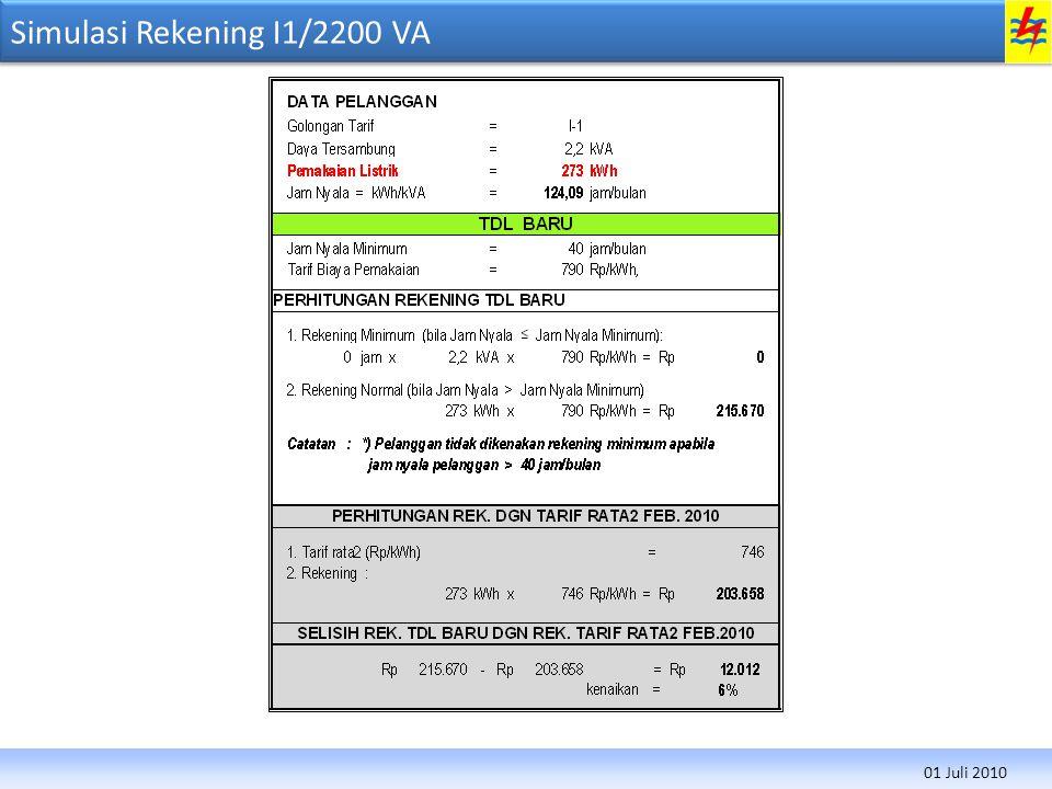 Simulasi Rekening I1/2200 VA 01 Juli 2010