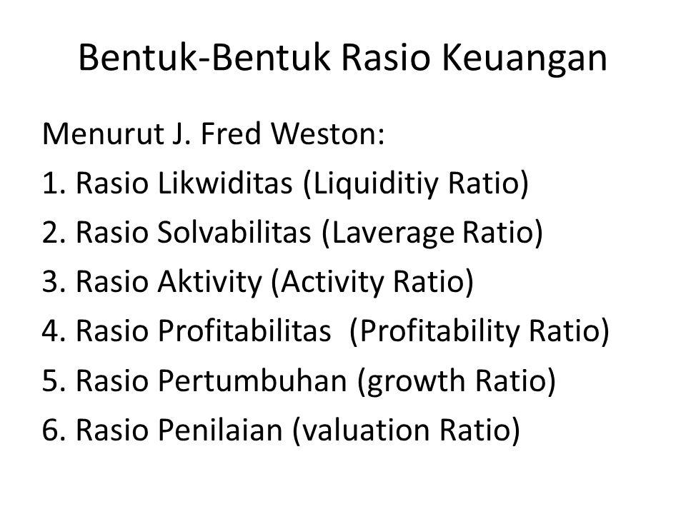 Bentuk-Bentuk Rasio Keuangan Menurut James C Van Horne : 1.Rasio Likuiditas (Liquiditiy Ratio) 2.Rasio Pengungkit (Laverage Ratio) 3.Rasio Pencakupan (Coverage Ratio) 4.Rasio Aktivitas (Activity Ratio) 5.Rasio Profitabilitas (Profitability Ratio)