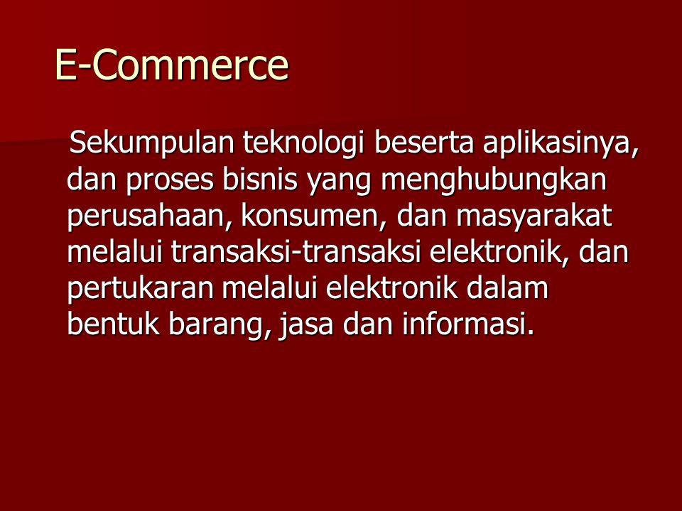 E-Commerce E-Commerce Sekumpulan teknologi beserta aplikasinya, dan proses bisnis yang menghubungkan perusahaan, konsumen, dan masyarakat melalui tran