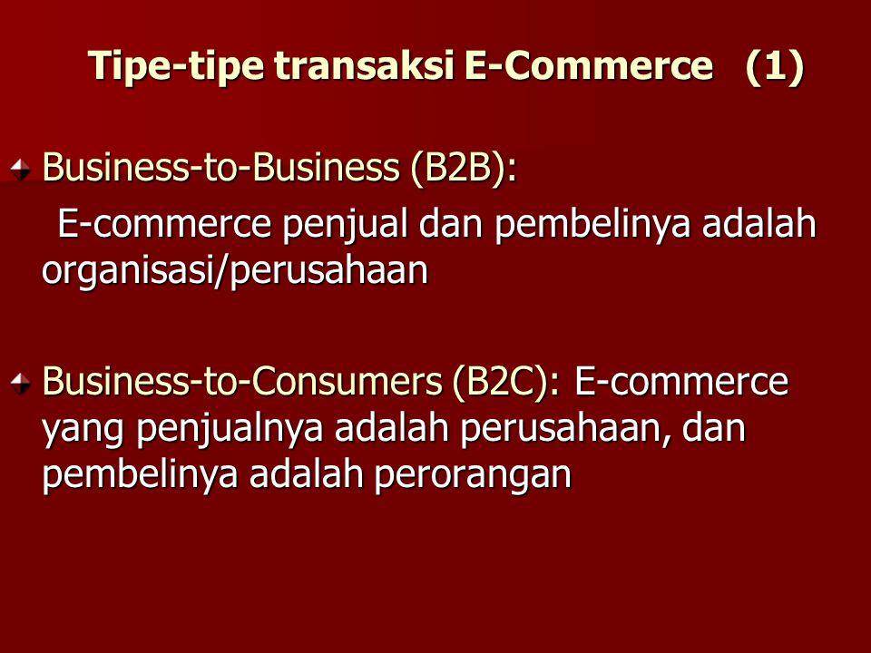 Business-to-Business (B2B): E-commerce penjual dan pembelinya adalah organisasi/perusahaan E-commerce penjual dan pembelinya adalah organisasi/perusah
