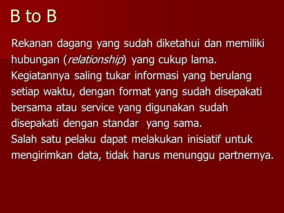 B to B Rekanan dagang yang sudah diketahui dan memiliki Rekanan dagang yang sudah diketahui dan memiliki hubungan (relationship) yang cukup lama. hubu