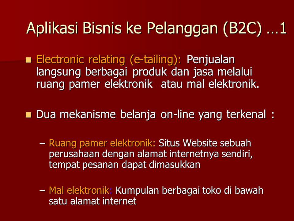 Electronic relating (e-tailing): Penjualan langsung berbagai produk dan jasa melalui ruang pamer elektronik atau mal elektronik. Electronic relating (