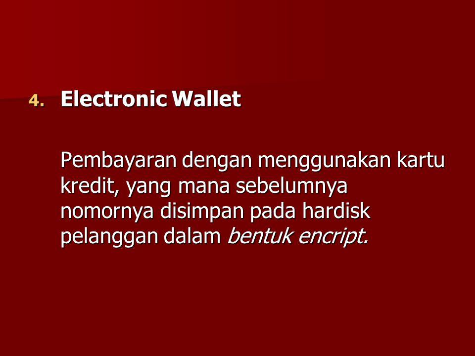 4. Electronic Wallet Pembayaran dengan menggunakan kartu kredit, yang mana sebelumnya nomornya disimpan pada hardisk pelanggan dalam bentuk encript.