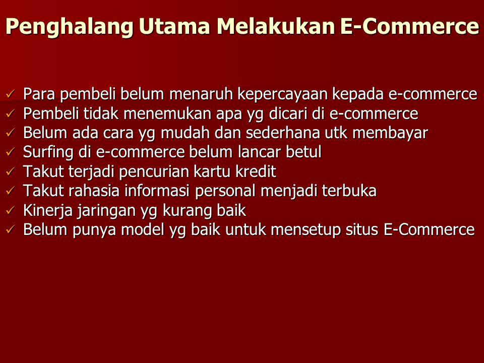Penghalang Utama Melakukan E-Commerce Para pembeli belum menaruh kepercayaan kepada e-commerce Para pembeli belum menaruh kepercayaan kepada e-commerc