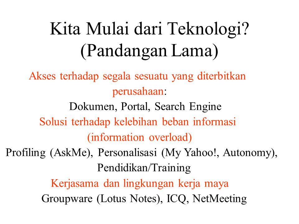 Kita Mulai dari Teknologi? (Pandangan Lama) Akses terhadap segala sesuatu yang diterbitkan perusahaan: Dokumen, Portal, Search Engine Solusi terhadap