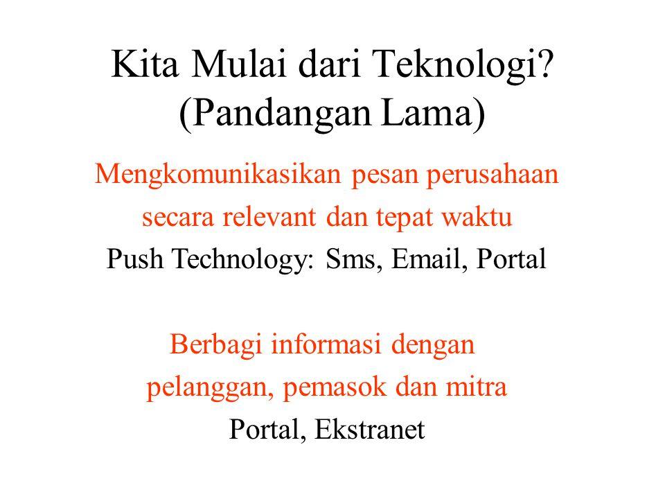 Kita Mulai dari Teknologi? (Pandangan Lama) Mengkomunikasikan pesan perusahaan secara relevant dan tepat waktu Push Technology: Sms, Email, Portal Ber
