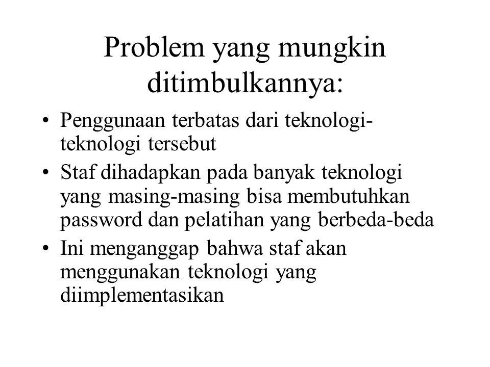 Problem yang mungkin ditimbulkannya: Penggunaan terbatas dari teknologi- teknologi tersebut Staf dihadapkan pada banyak teknologi yang masing-masing bisa membutuhkan password dan pelatihan yang berbeda-beda Ini menganggap bahwa staf akan menggunakan teknologi yang diimplementasikan