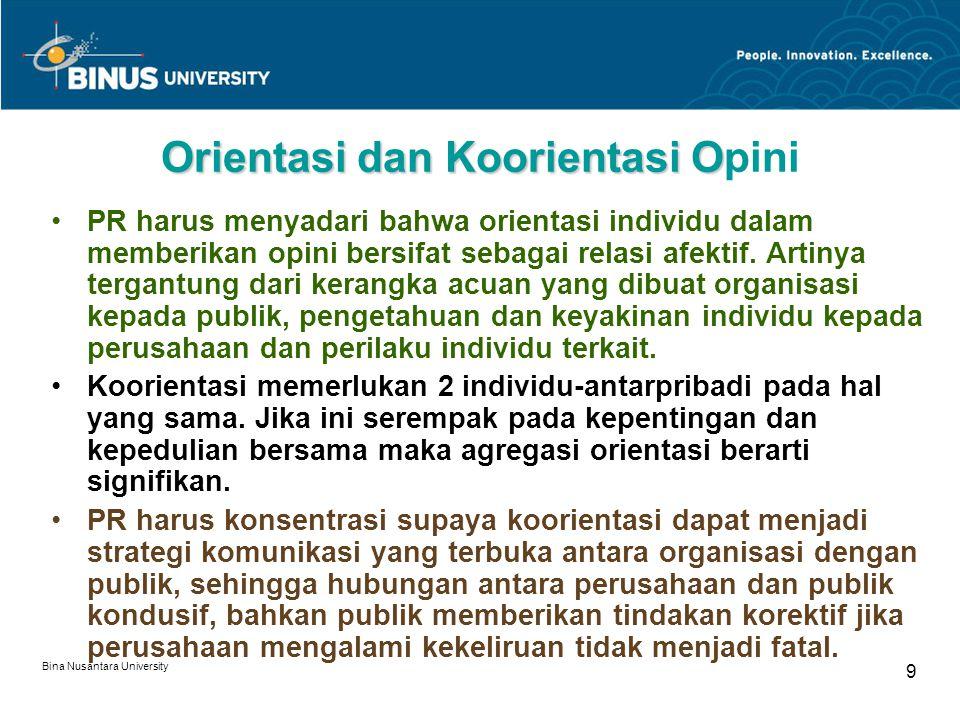 Bina Nusantara University 9 Orientasi dan Koorientasi O Orientasi dan Koorientasi Opini PR harus menyadari bahwa orientasi individu dalam memberikan o