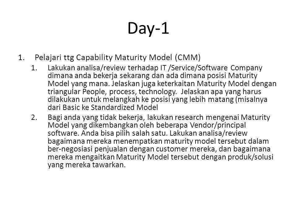 Day-1 1.Pelajari ttg Capability Maturity Model (CMM) 1.Lakukan analisa/review terhadap IT /Service/Software Company dimana anda bekerja sekarang dan ada dimana posisi Maturity Model yang mana.