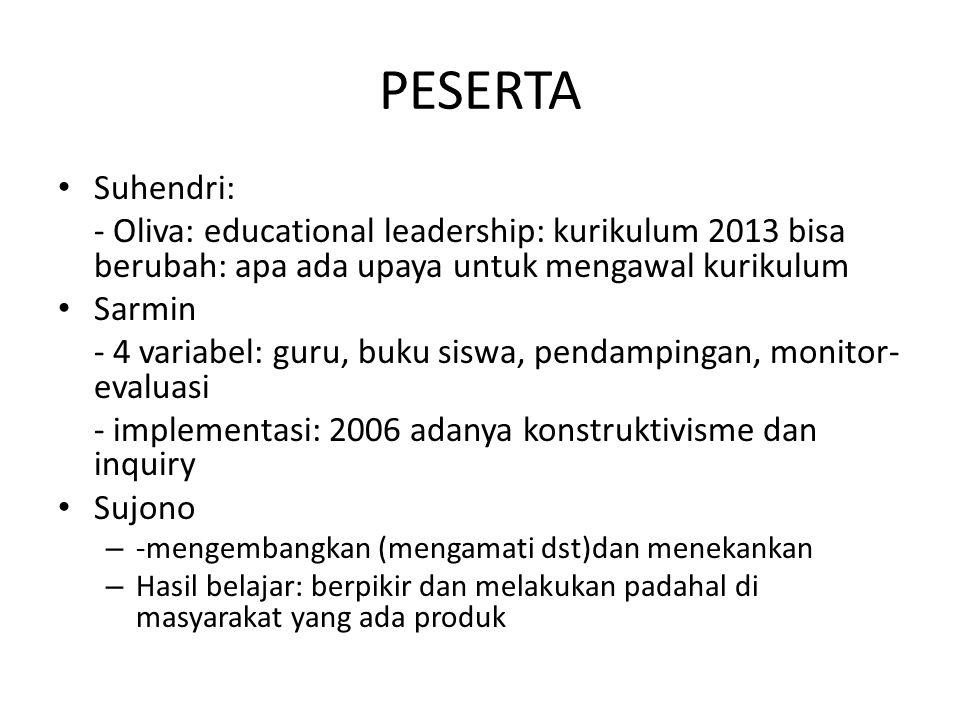 Suhendri: - Oliva: educational leadership: kurikulum 2013 bisa berubah: apa ada upaya untuk mengawal kurikulum Sarmin - 4 variabel: guru, buku siswa,