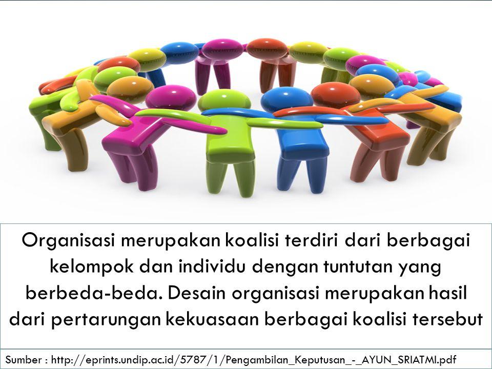 Organisasi merupakan koalisi terdiri dari berbagai kelompok dan individu dengan tuntutan yang berbeda-beda.
