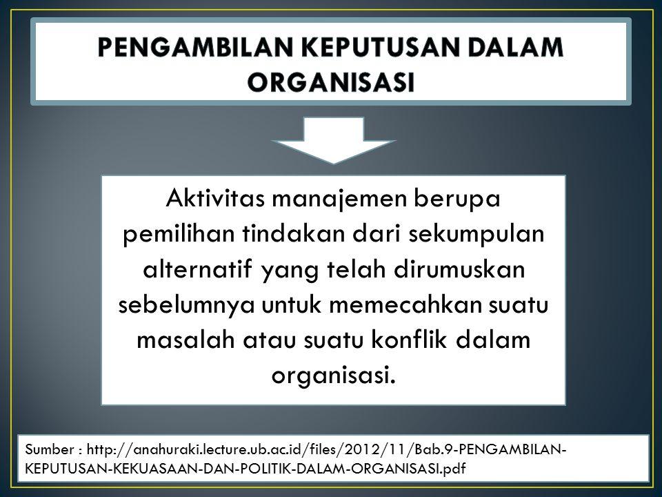 Aktivitas manajemen berupa pemilihan tindakan dari sekumpulan alternatif yang telah dirumuskan sebelumnya untuk memecahkan suatu masalah atau suatu konflik dalam organisasi.