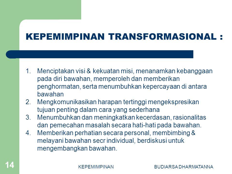 KEPEMIMPINANBUDIARSA DHARMATANNA 14 1.Menciptakan visi & kekuatan misi, menanamkan kebanggaan pada diri bawahan, memperoleh dan memberikan penghormata