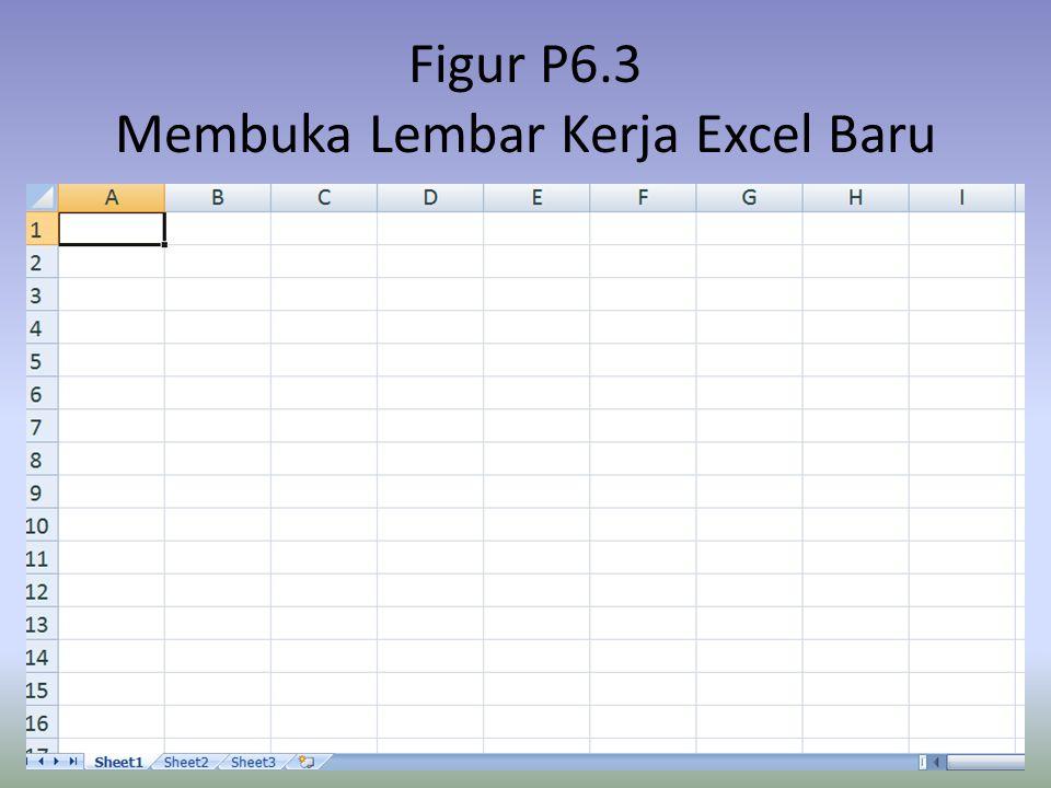 Figur P6.3 Membuka Lembar Kerja Excel Baru