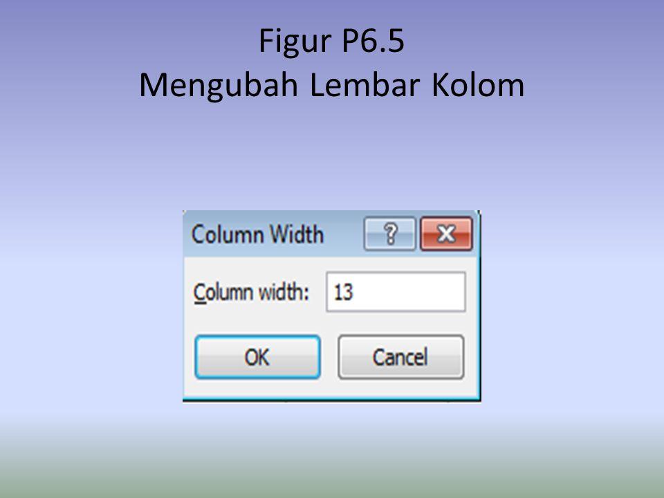 Figur P6.5 Mengubah Lembar Kolom
