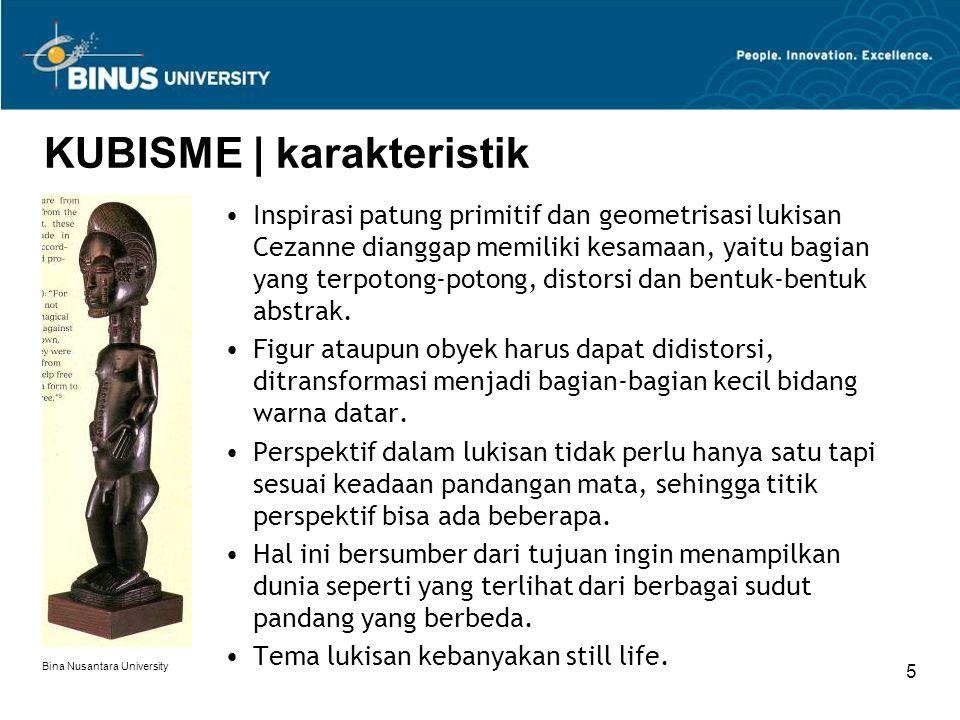 Bina Nusantara University 6 KUBISME | kubis analitik Georges Braque |The Violin and Pitcher |1909-10 Pada 1909 Picasso dan Braque melakukan studi secara sistematis untuk mempelajari struktur lukisan.
