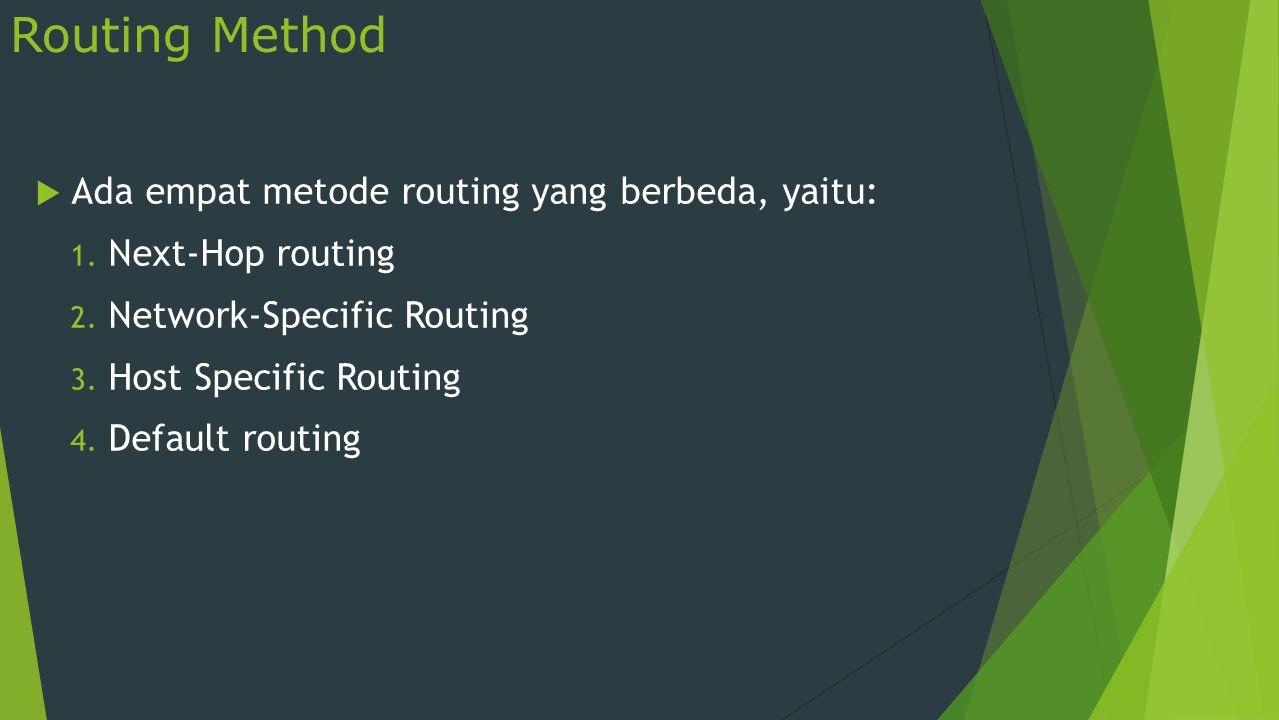Routing Method  Ada empat metode routing yang berbeda, yaitu: 1. Next-Hop routing 2. Network-Specific Routing 3. Host Specific Routing 4. Default rou