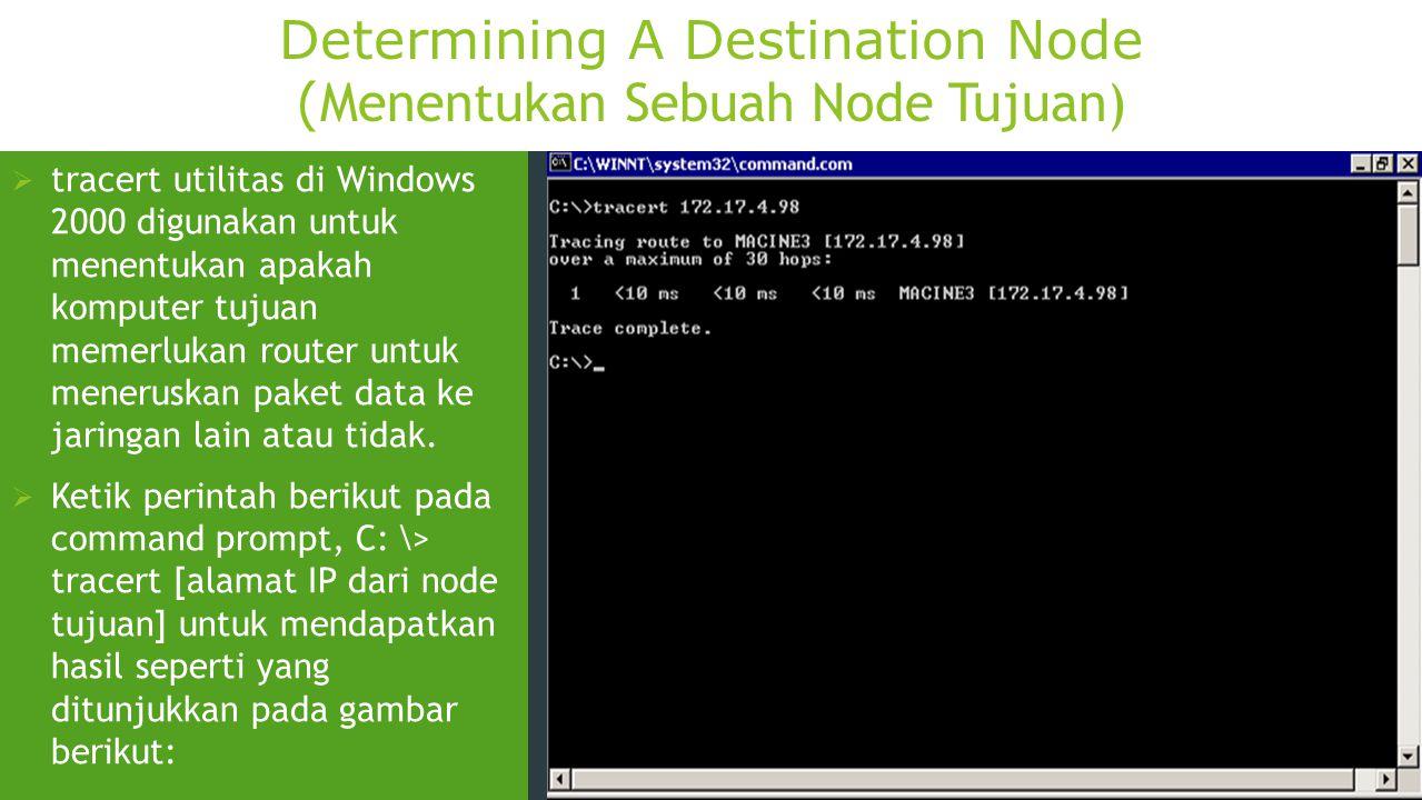 Determining A Destination Node ( Menentukan Sebuah Node Tujuan)  tracert utilitas di Windows 2000 digunakan untuk menentukan apakah komputer tujuan m