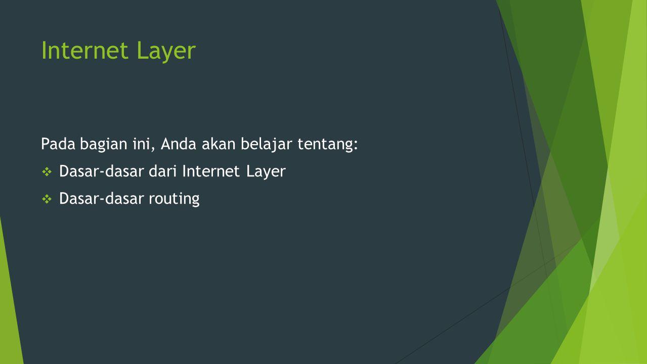 Introduction to Internet Layer  Lapisan Internet adalah lapisan ketiga dari arsitektur TCP / IP seperti yang ditunjukkan pada gambar berikut: TCP/IP architecture – Internet Layer