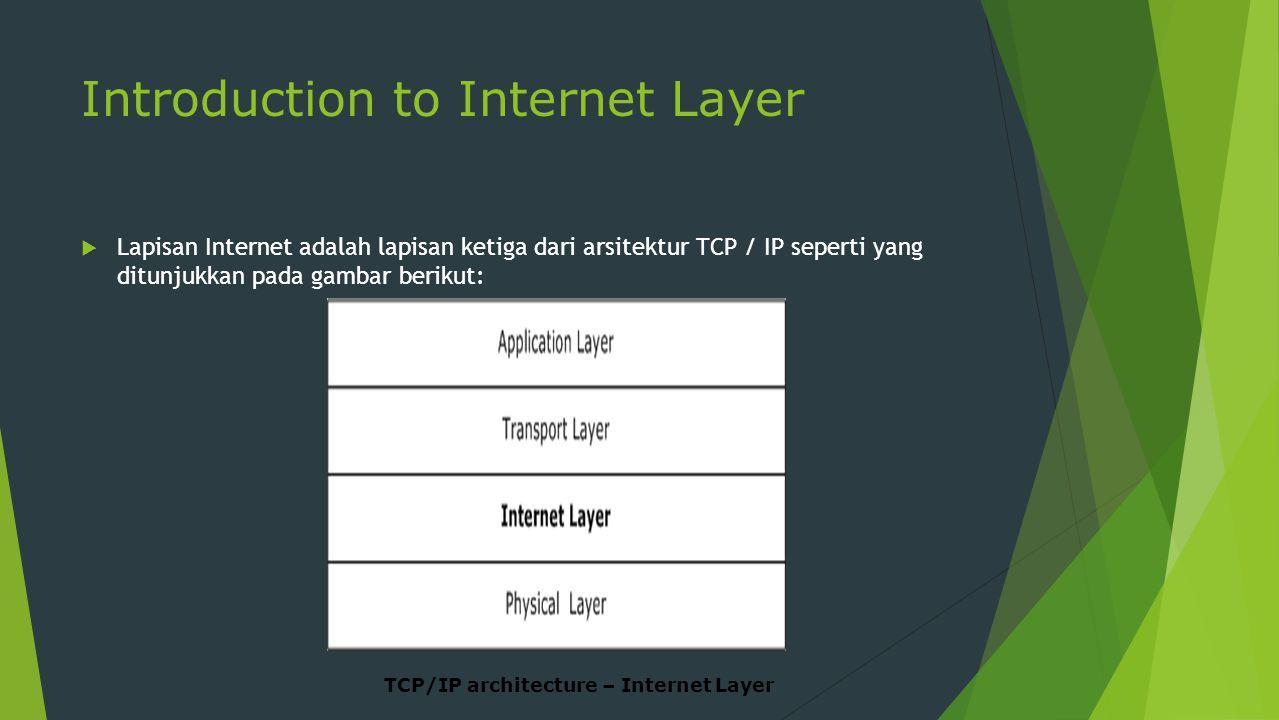 Introduction to Internet Layer  Lapisan Internet adalah lapisan ketiga dari arsitektur TCP / IP seperti yang ditunjukkan pada gambar berikut: TCP/IP