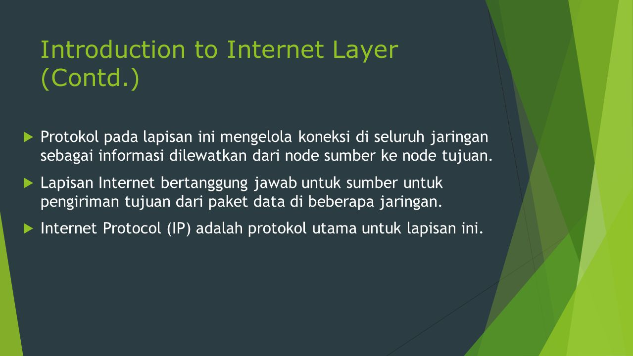 Introduction to Internet Layer (Contd.)  Protokol pada lapisan ini mengelola koneksi di seluruh jaringan sebagai informasi dilewatkan dari node sumbe