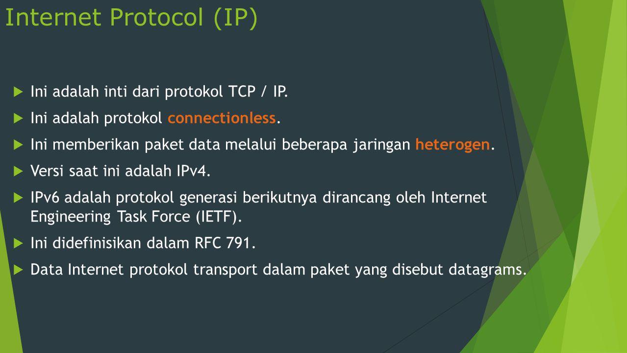 Internet Protocol (Contd.)  Fungsi IP adalah sebagai berikut:  Mendefinisikan paket data  Mendefinisikan skema pengalamatan  Memindahkan data antara lapisan transport dan protokol network access layer  Routing paket data remote ke host  Melakukan fragmentasi dan reassembly paket data