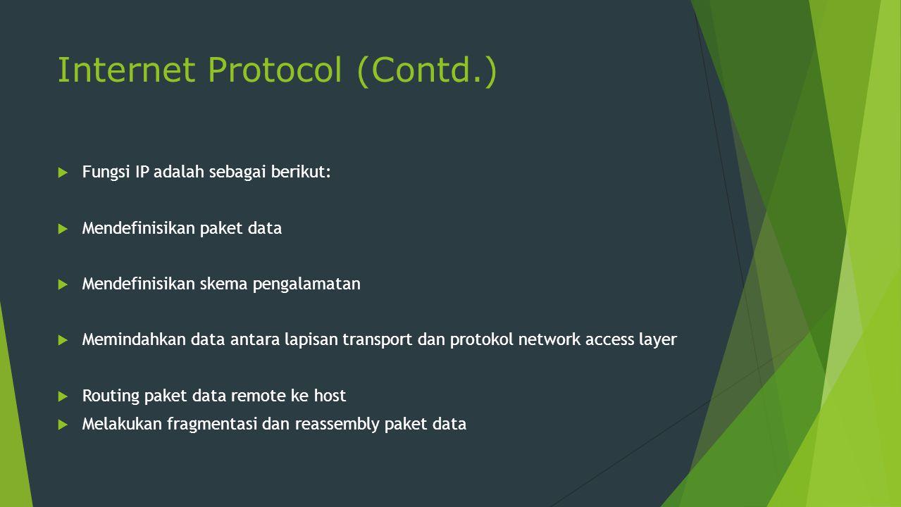 Internet Protocol (Contd.)  Fungsi IP adalah sebagai berikut:  Mendefinisikan paket data  Mendefinisikan skema pengalamatan  Memindahkan data anta