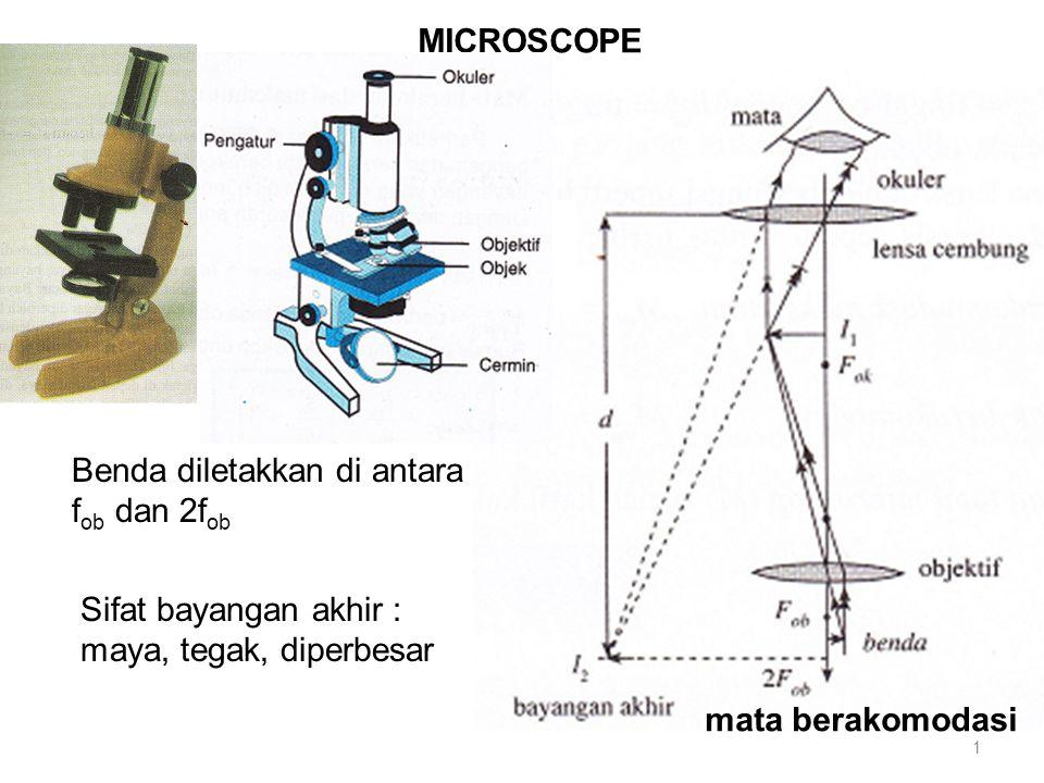 MICROSCOPE Sifat bayangan akhir : maya, tegak, diperbesar Benda diletakkan di antara f ob dan 2f ob mata berakomodasi 1