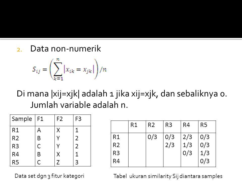 2. Data non-numerik Di mana |xij=xjk| adalah 1 jika xij=xjk, dan sebaliknya 0. Jumlah variable adalah n. SampleF1F2F3 R1 R2 R3 R4 R5 ABCBCABCBC XYYXZX